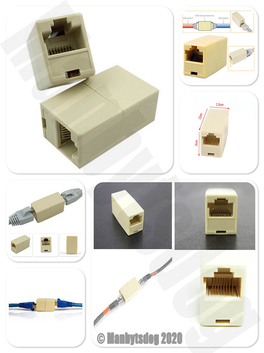 Ethernet Cable Extender Extension Adapter Female to Male Coupler Joiner Wire
