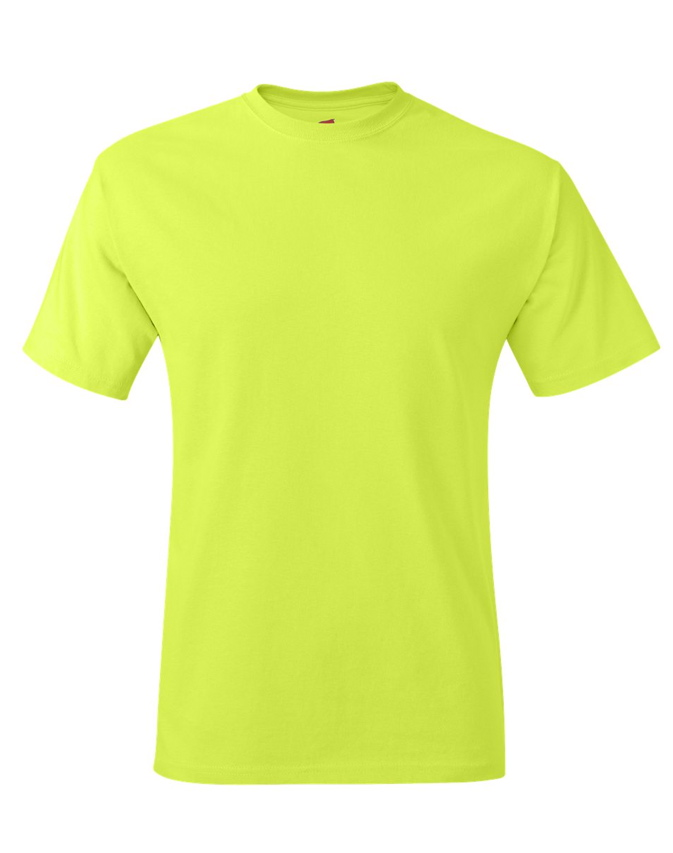 Hanes safety green tagless adult t shirt short sleeve for Bulk neon t shirts
